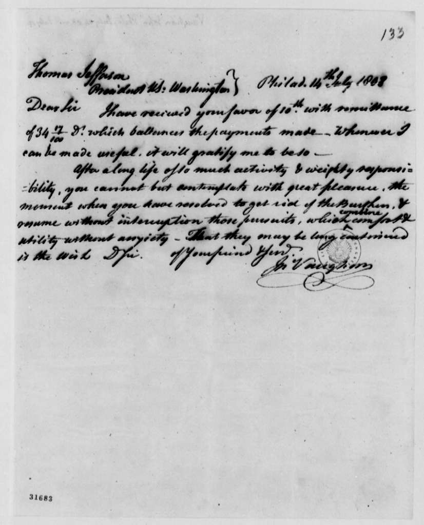 John Vaughan to Thomas Jefferson, July 14, 1808