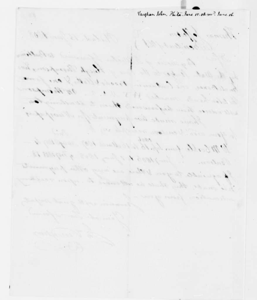 John Vaughan to Thomas Jefferson, June 15, 1808