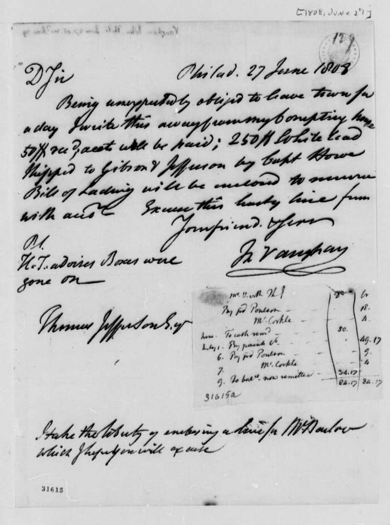 John Vaughan to Thomas Jefferson, June 27, 1808, with Jefferson Account