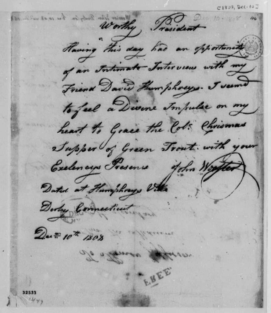 John Wooster to Thomas Jefferson, December 10, 1808