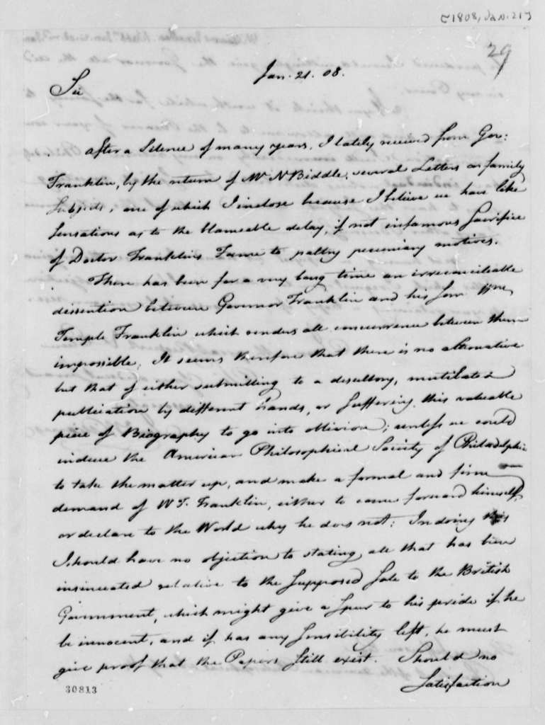 Jonathan Williams to Thomas Jefferson, January 21, 1808