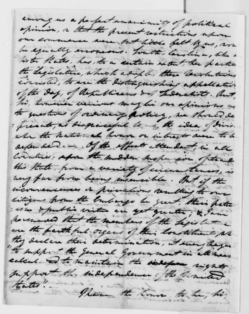 Joseph Alston to Thomas Jefferson, July 6, 1808