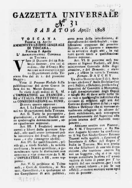 Joseph Barnes to Thomas Jefferson, April 17, 1808, with Clipping from Gazzetta Universale, Dated April 16, 1808, in Italian
