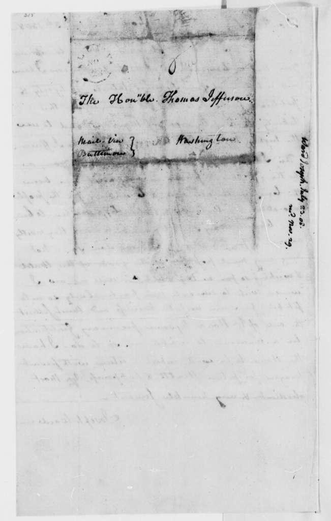 Joseph Ward to Thomas Jefferson, July 23, 1808