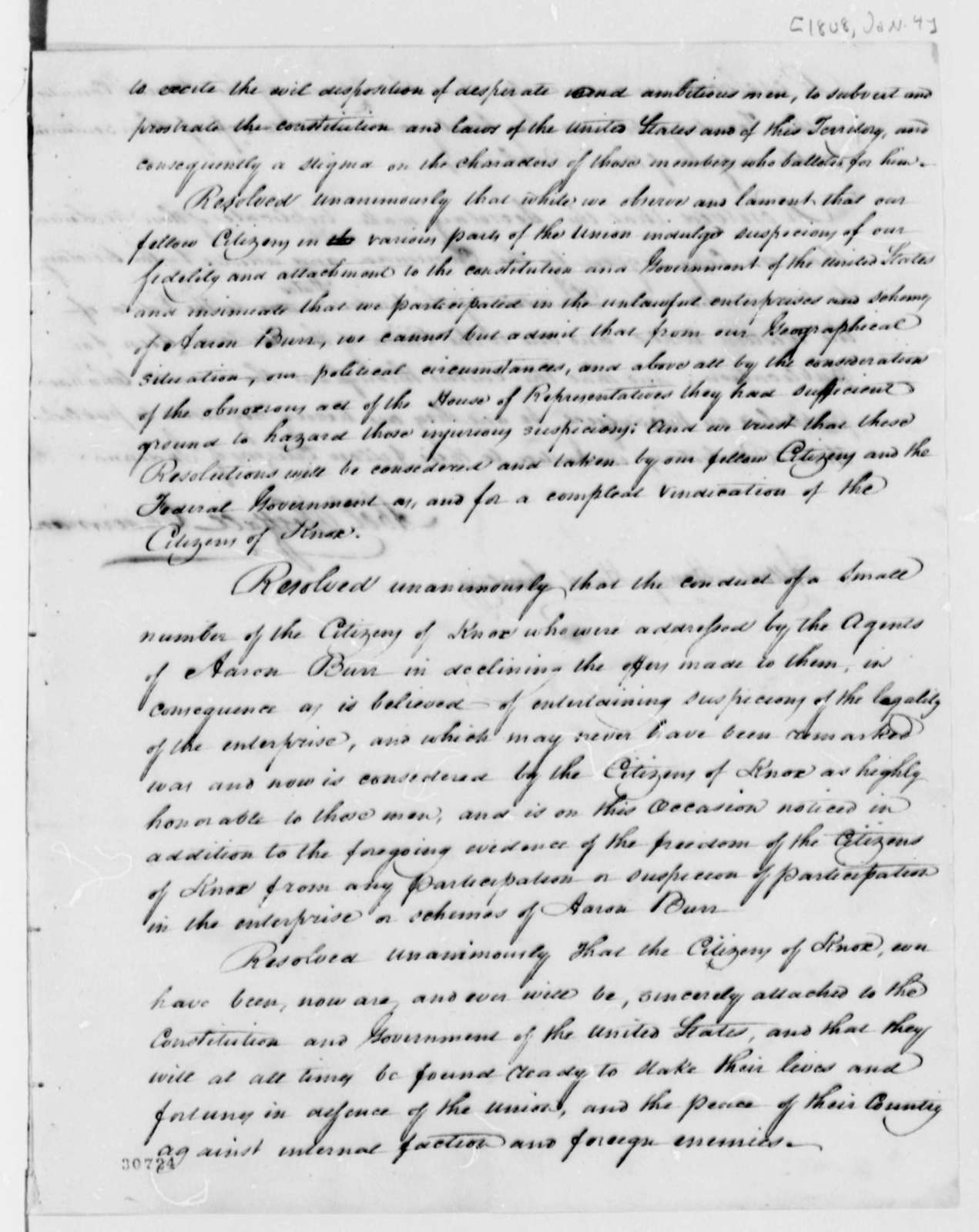 Knox County, Indiana Territory, Citizens, January 4, 1808, Resolution
