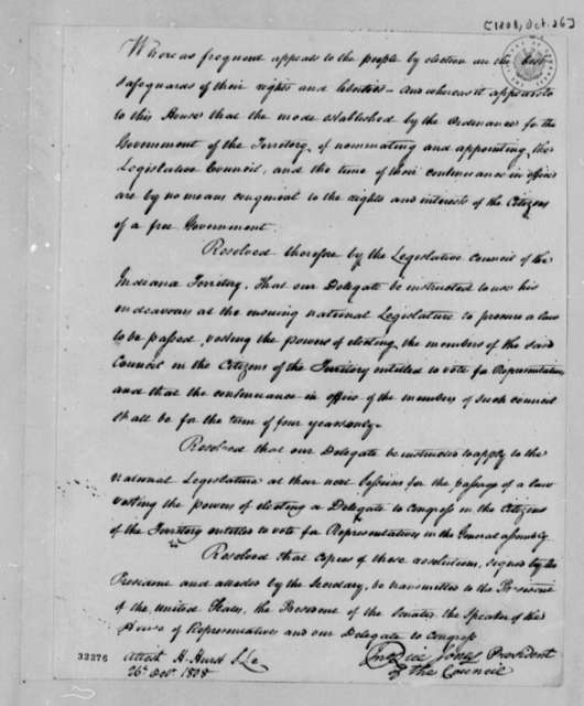 Legislative Council of Indiana Territory, October 26, 1808, Resolution of Revision of Laws