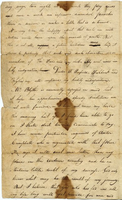 Letter from Joshua Lacy Wilson to Sally Mackay Wilson