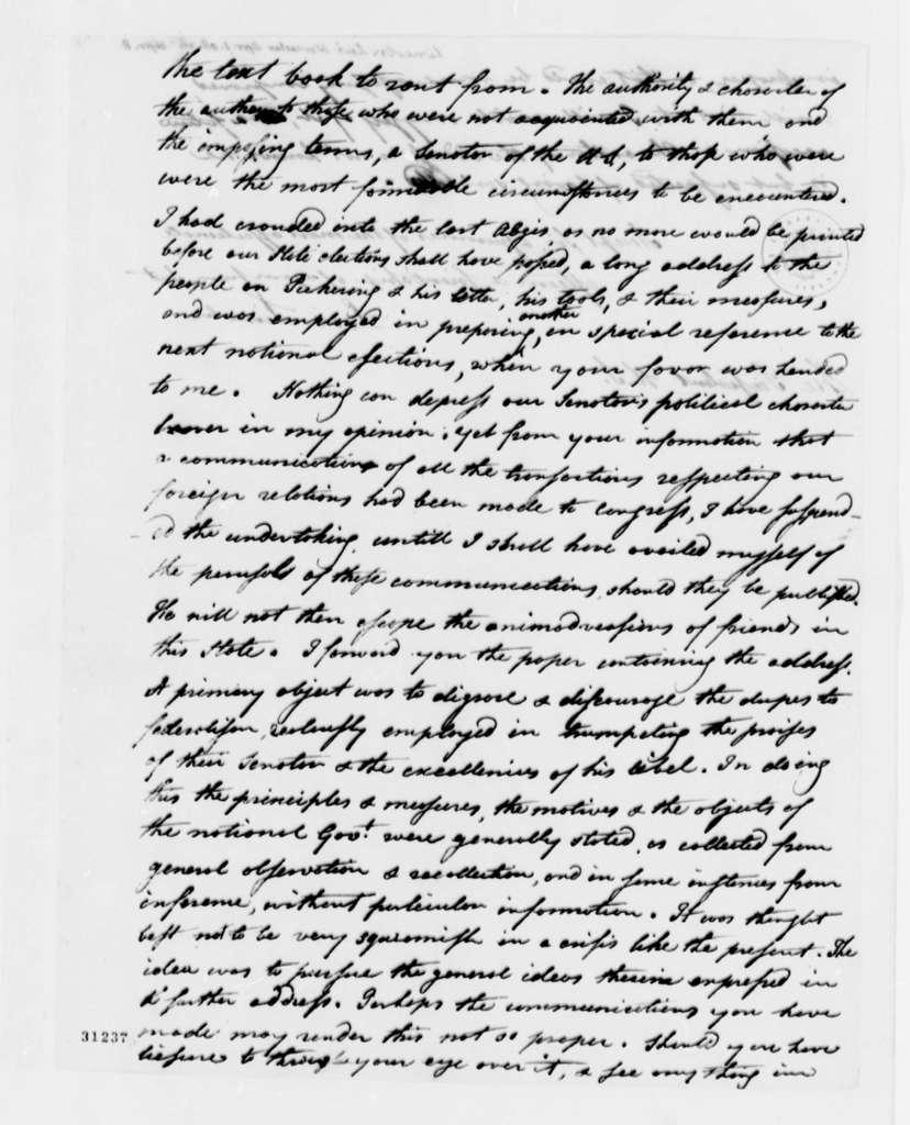 Levi Lincoln to Thomas Jefferson, April 1, 1808