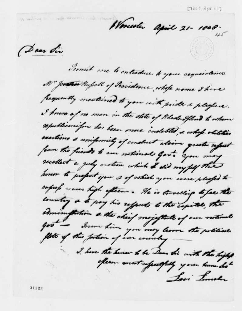 Levi Lincoln to Thomas Jefferson, April 21, 1808
