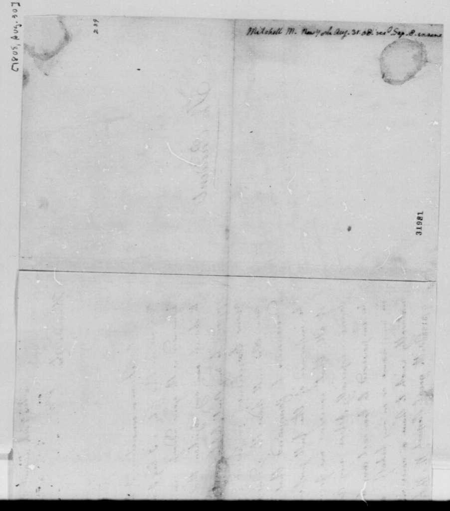 M. Mitchell to Thomas Jefferson, August 30, 1808