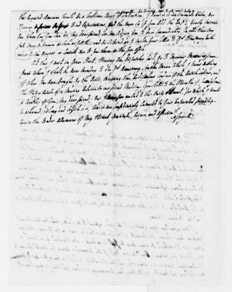 Marie Joseph Paul Yves Roch Gilbert du Motier, Marquis de Lafayette to Thomas Jefferson, April 8, 1808, with Copies