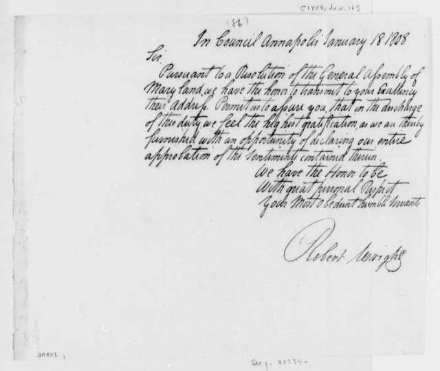 Maryland General Assembly to Thomas Jefferson, January 18, 1808
