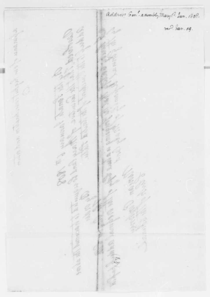Maryland General Assembly to Thomas Jefferson, January 6, 1808