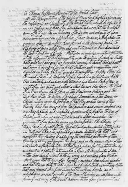 Maryland General Assembly to Thomas Jefferson, January 6, 1808
