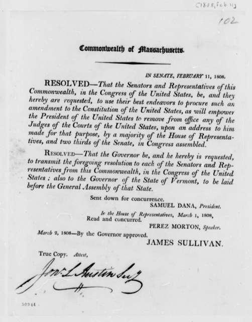 Massachusetts Legislature, February 11, 1808, Printed Resolution