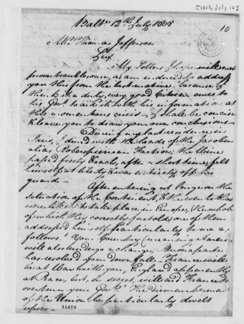 Michael Walton to Thomas Jefferson, July 12, 1808