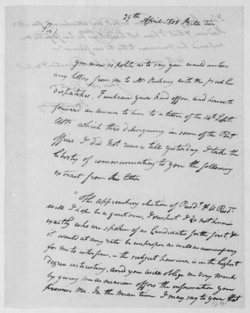 Montgomery to James Madison, April 29, 1808.