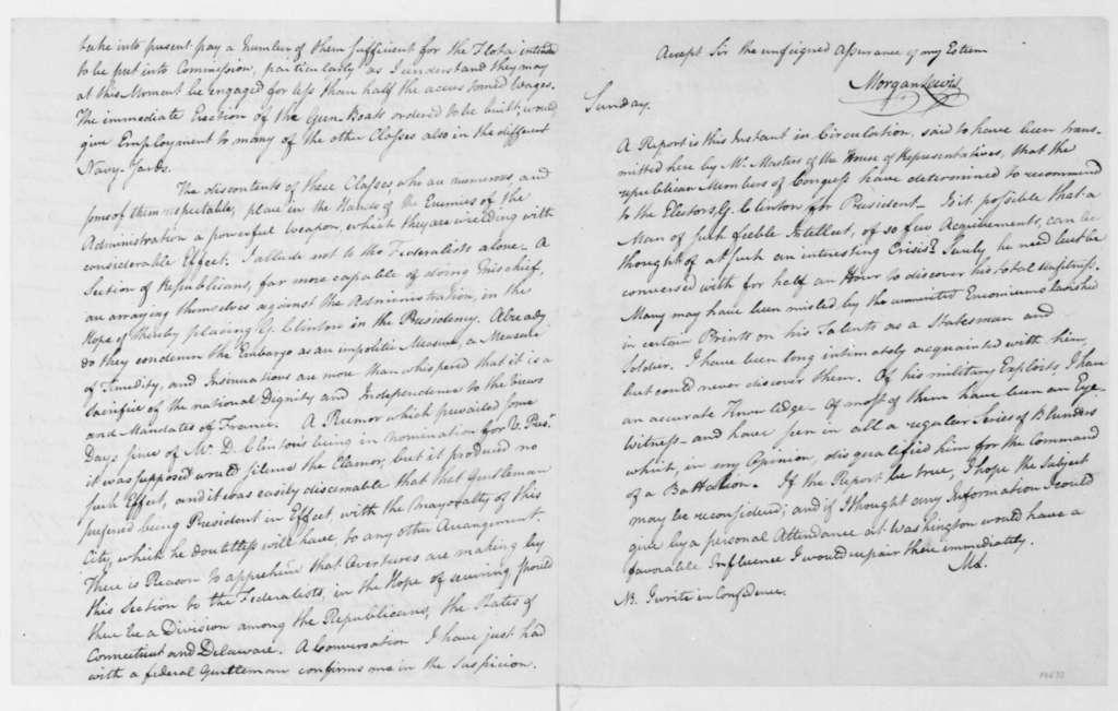 Morgan Lewis to James Madison, January 9, 1808.