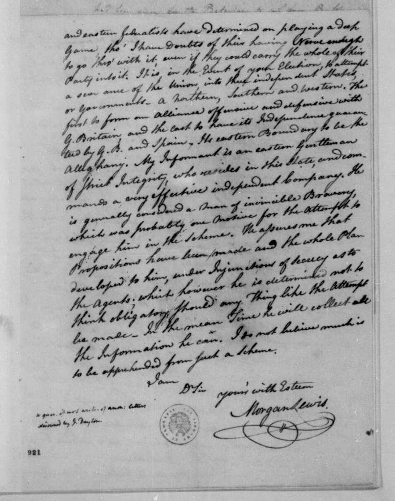 Morgan Lewis to James Madison, September 7, 1808.