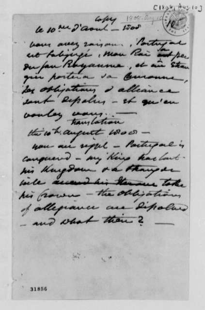 Napoleon I, August 10, 1808, Extract on Victory in Portugal, in French and English
