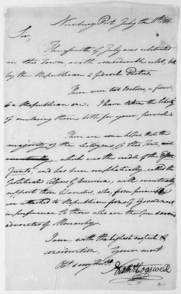 Nathaniel Cogswell to James Madison, July 11, 1808.