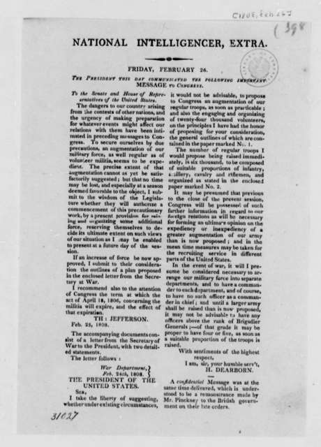 National Intelligencer, February 26, 1808, Article