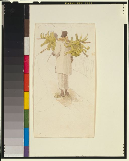 [Negro man carrying plantains on pole]