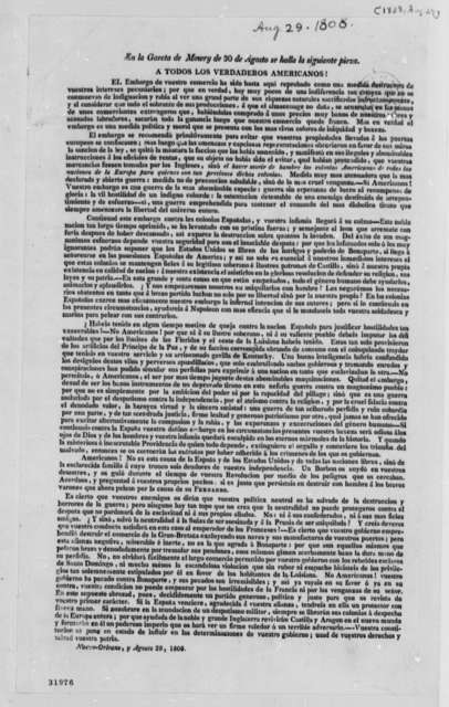 New Orleans, August 29, 1808, Embargo, in Spanish