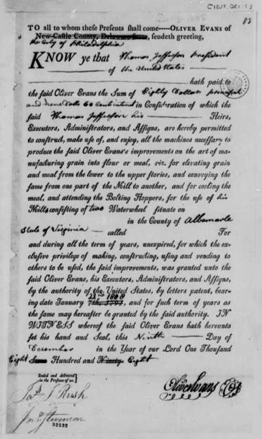 Oliver Evans to Thomas Jefferson, December 9, 1808, Printed Receipt and Permit