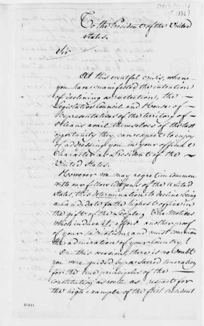 Orleans Territory Representatives to Thomas Jefferson, March 29, 1808, On Declining Reelection