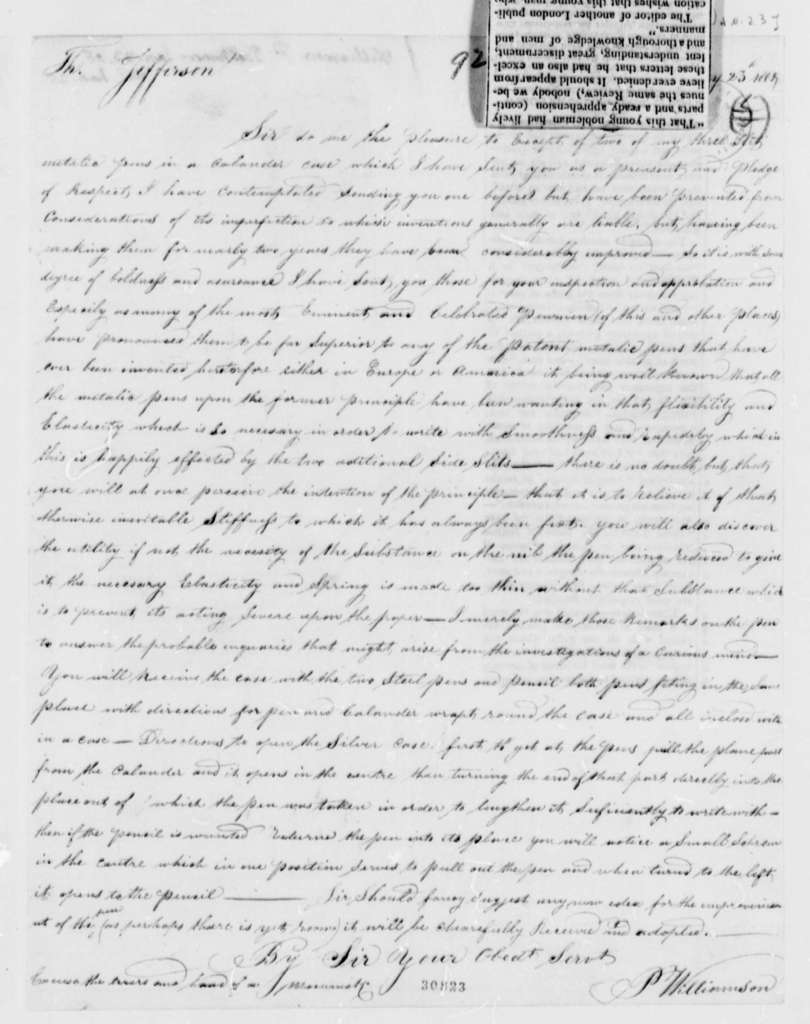 P. Williamson to Thomas Jefferson, January 23, 1808, with Clipping