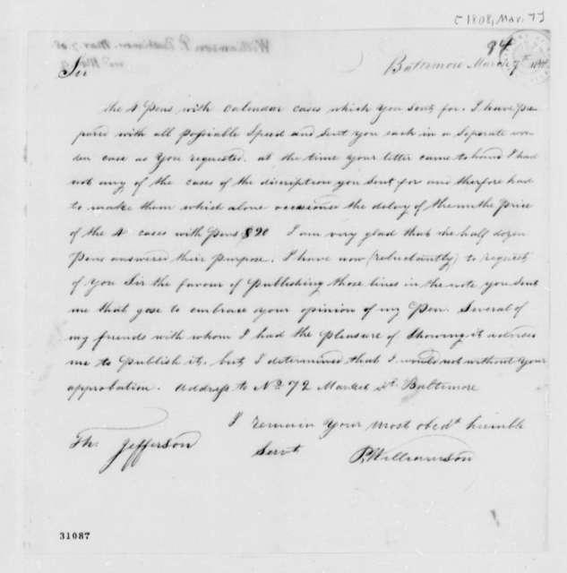 P. Williamson to Thomas Jefferson, March 7, 1808