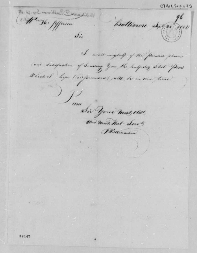 P. Williamson to Thomas Jefferson, September 28, 1808