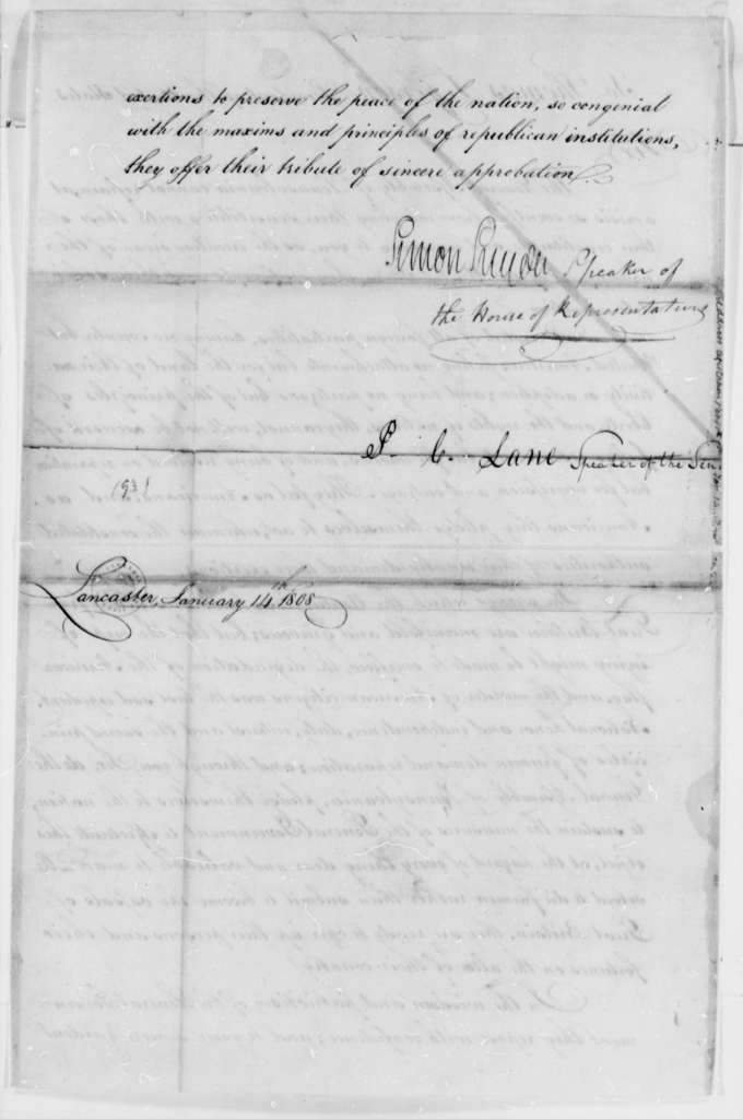 Pennsylvania General Assembly to Thomas Jefferson, January 14, 1808, with Address