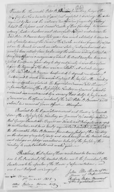 Peter Bruin, March 1, 1808, Mississippi Territory Resolutions