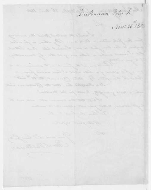 Peter Duponceau to James Madison, November 26, 1808.