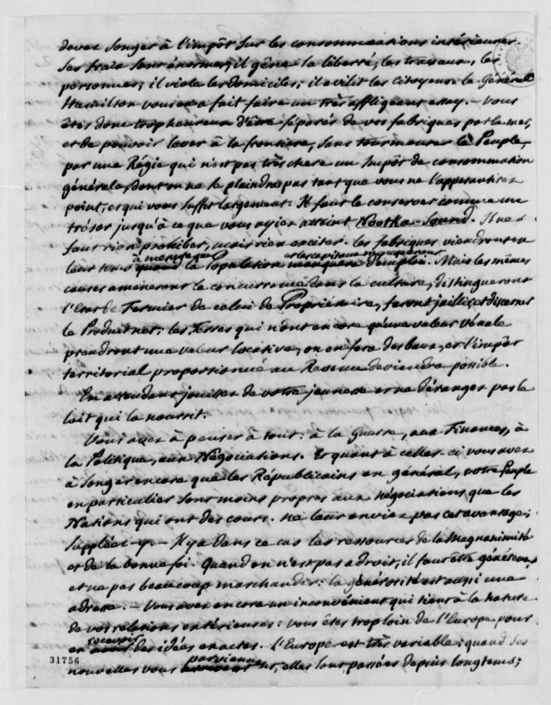 Pierre Samuel Dupont de Nemours to Thomas Jefferson, July 23, 1808