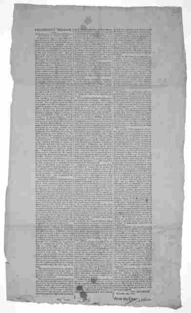 President's message to the Senate and House of representatives of the United States ... Th: Jefferson. November 8th, 1808. From the Gazette Office.