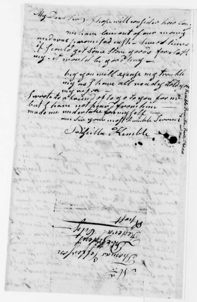 Priscilla Kemble to Thomas Jefferson, February 18, 1808