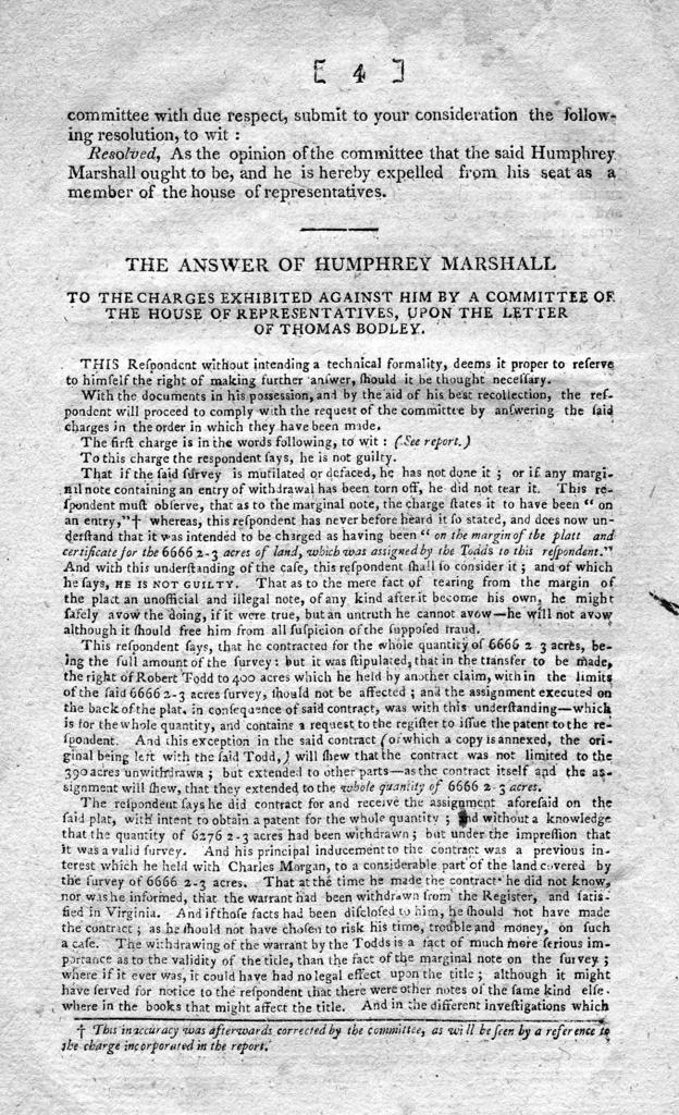 Report of the Select Committee appointed to investigate certain charges against Humphrey Marshall