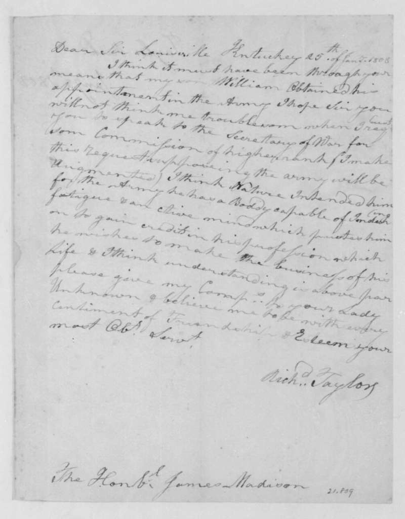 Richard Taylor to James Madison, January 25, 1808.