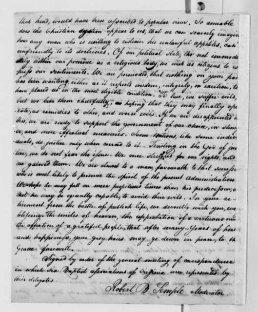 Robert B. Semple to Thomas Jefferson, October 24, 1808