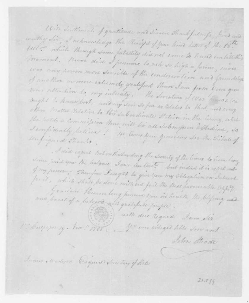 Robert Livingston to James Madison, November 23, 1808. Includes notes and wool samples.