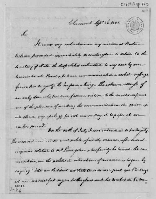 Robert R. Livingston to Thomas Jefferson, September 22, 1808, and Copy