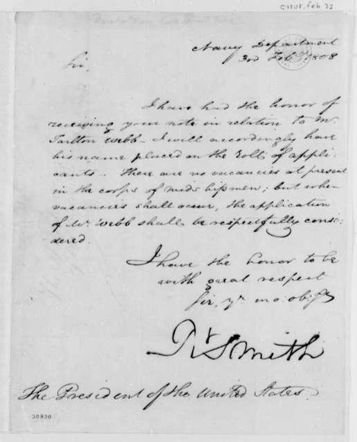 Robert Smith to Thomas Jefferson, February 3, 1808