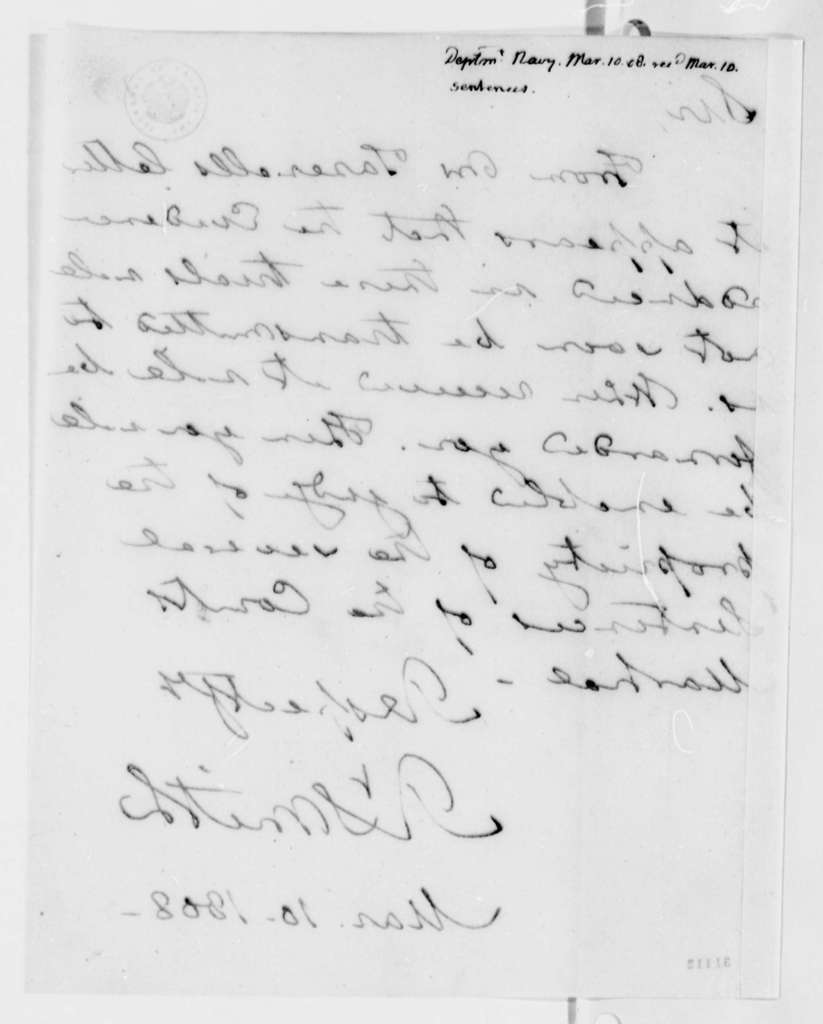 Robert Smith to Thomas Jefferson, March 10, 1808
