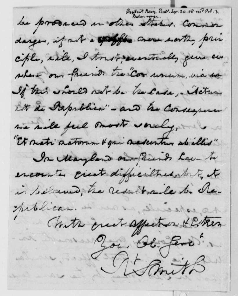 Robert Smith to Thomas Jefferson, September 24, 1808