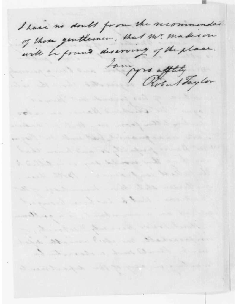 Robert Taylor to James Madison, April 21, 1808.