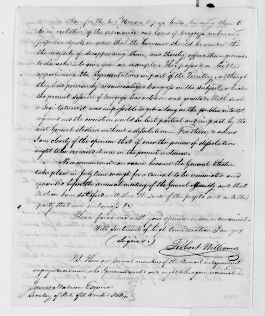 Robert Williams to James Madison, March 8, 1808