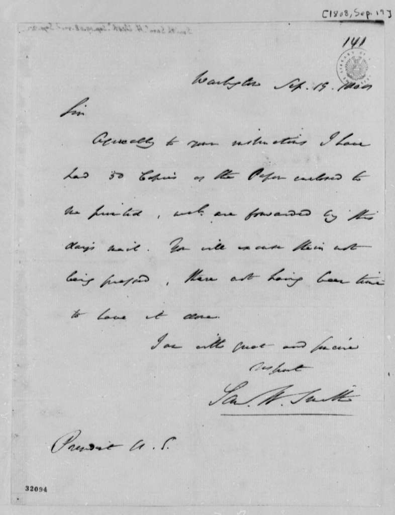 Samuel H. Smith to Thomas Jefferson, September 19, 1808